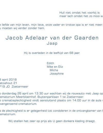 Rouwkaart Jaap Adelaar van der Gaarden