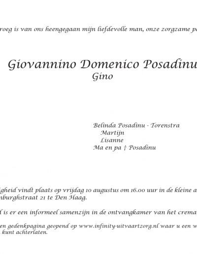 Giovannino Domenico Posadinu - rouwkaart rechts
