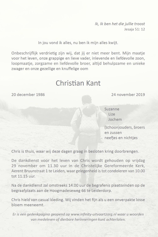 Rouwkaart Christian Kant binnen rechts