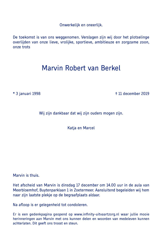 Rouwkaart Marvin van Berkel binnen rechts