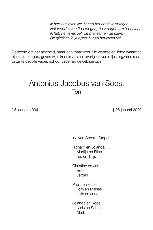 Ton van Soest rouwkaart midden rechts