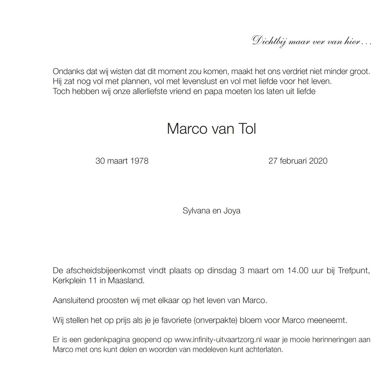 Marco van Tol rouwkaart midden rechts