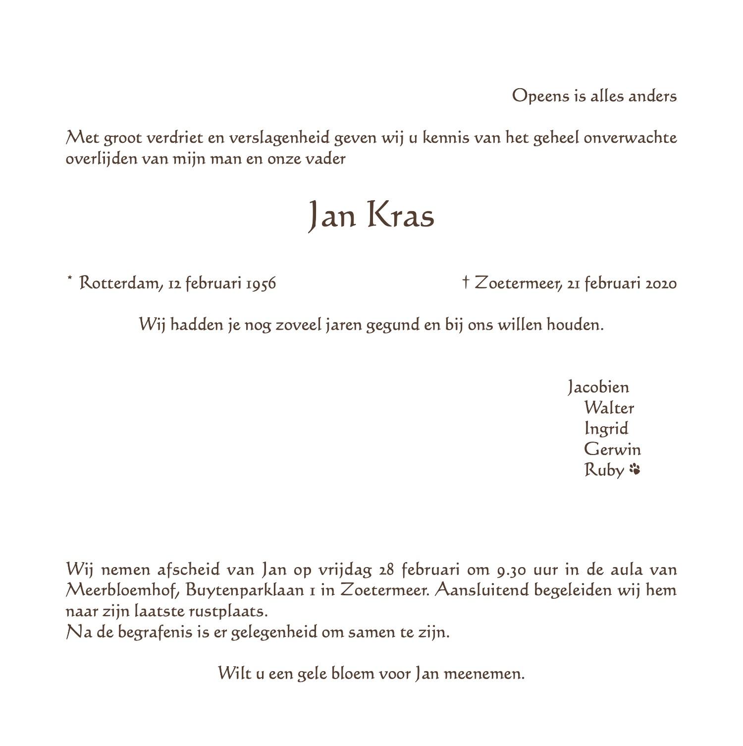Jan Kras rouwkaart midden rechts