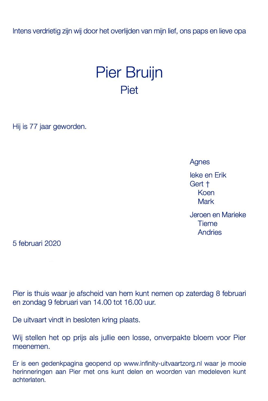Pier Bruijn rouwkaart midden rechts