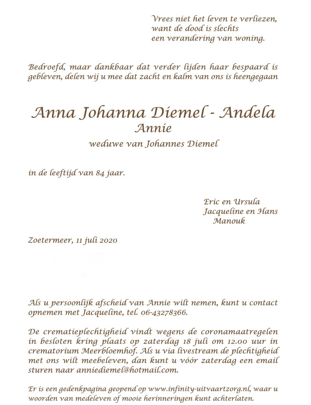 Annie Diemel - Andela, rouwkaart binnenkant