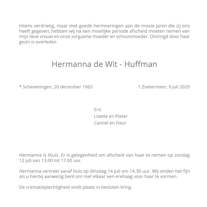 Hermanna de Wit - Huffman, rouwkaart binnenkant rechts