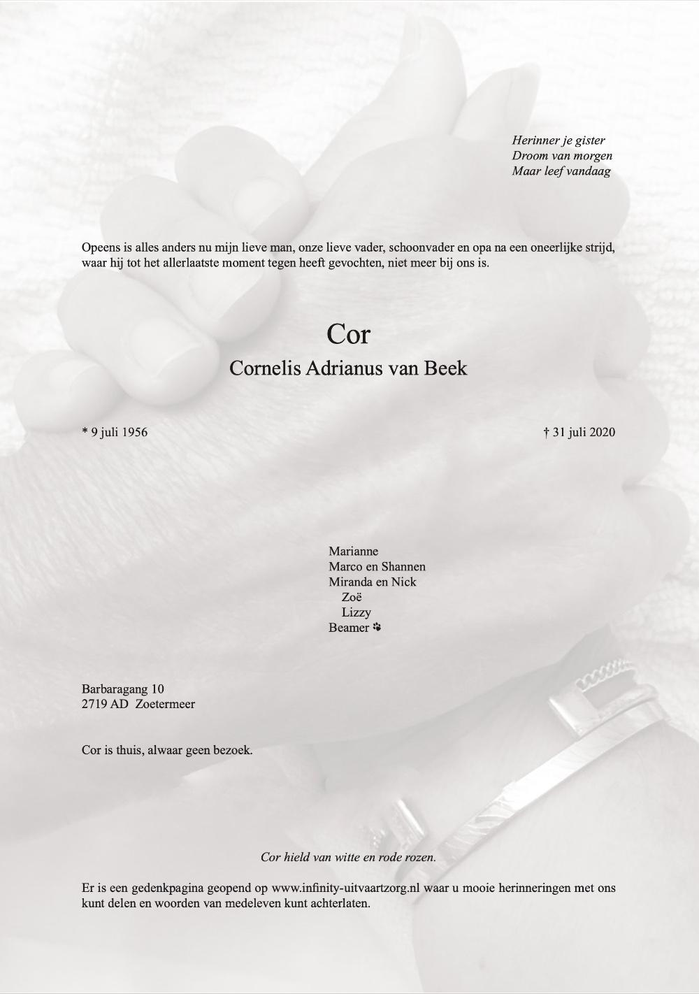 Rouwkaart Cor van Beek