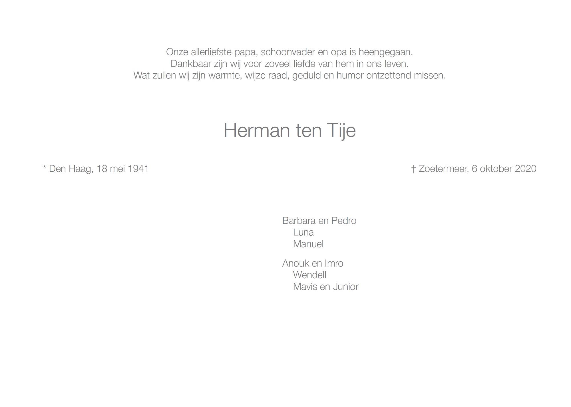 Herman ten Tije, rouwkaart binnenkant rechts