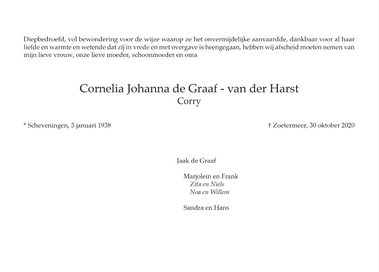 Corry de Graaf - van der Harst, rouwkaart binnenkant rechts