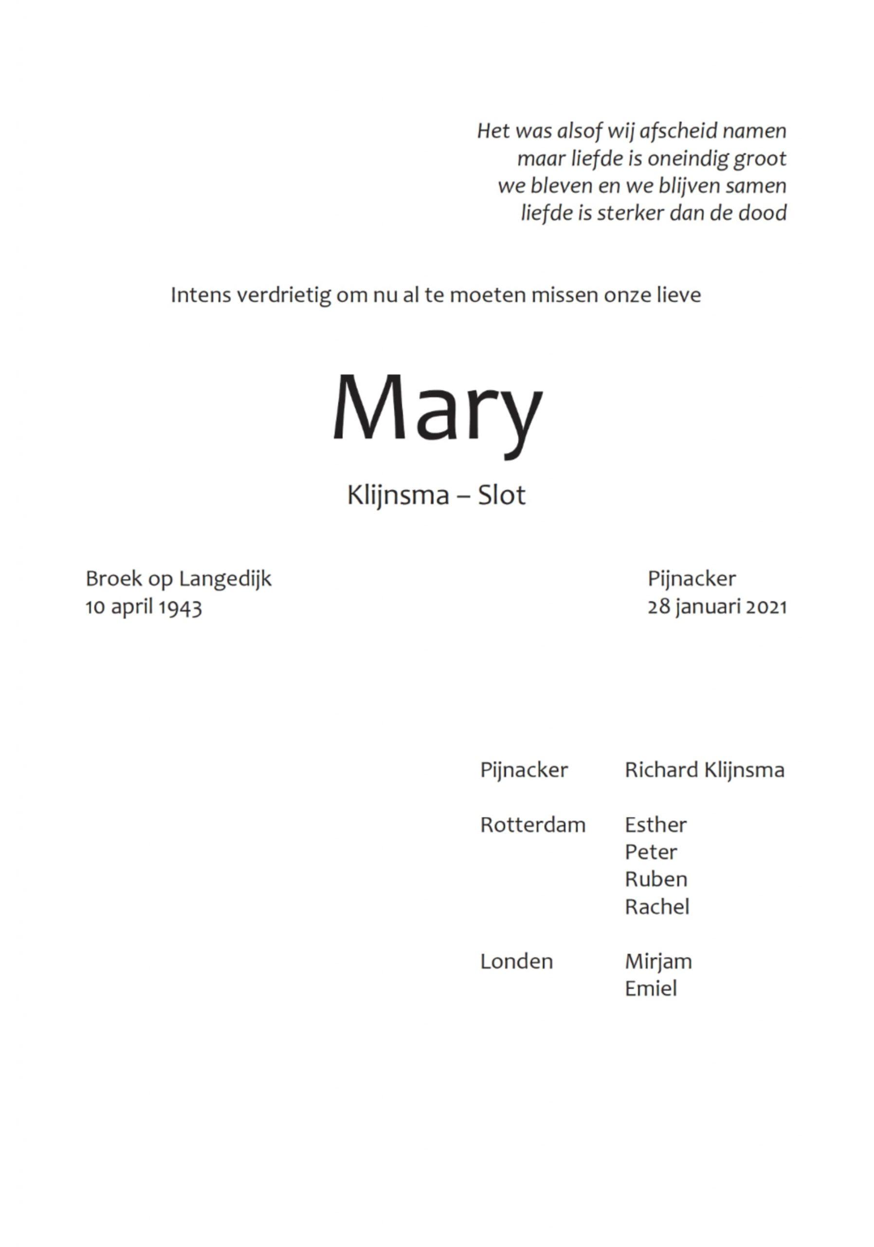 Rouwkaart midden rechts Mary Klijnsma - Slot