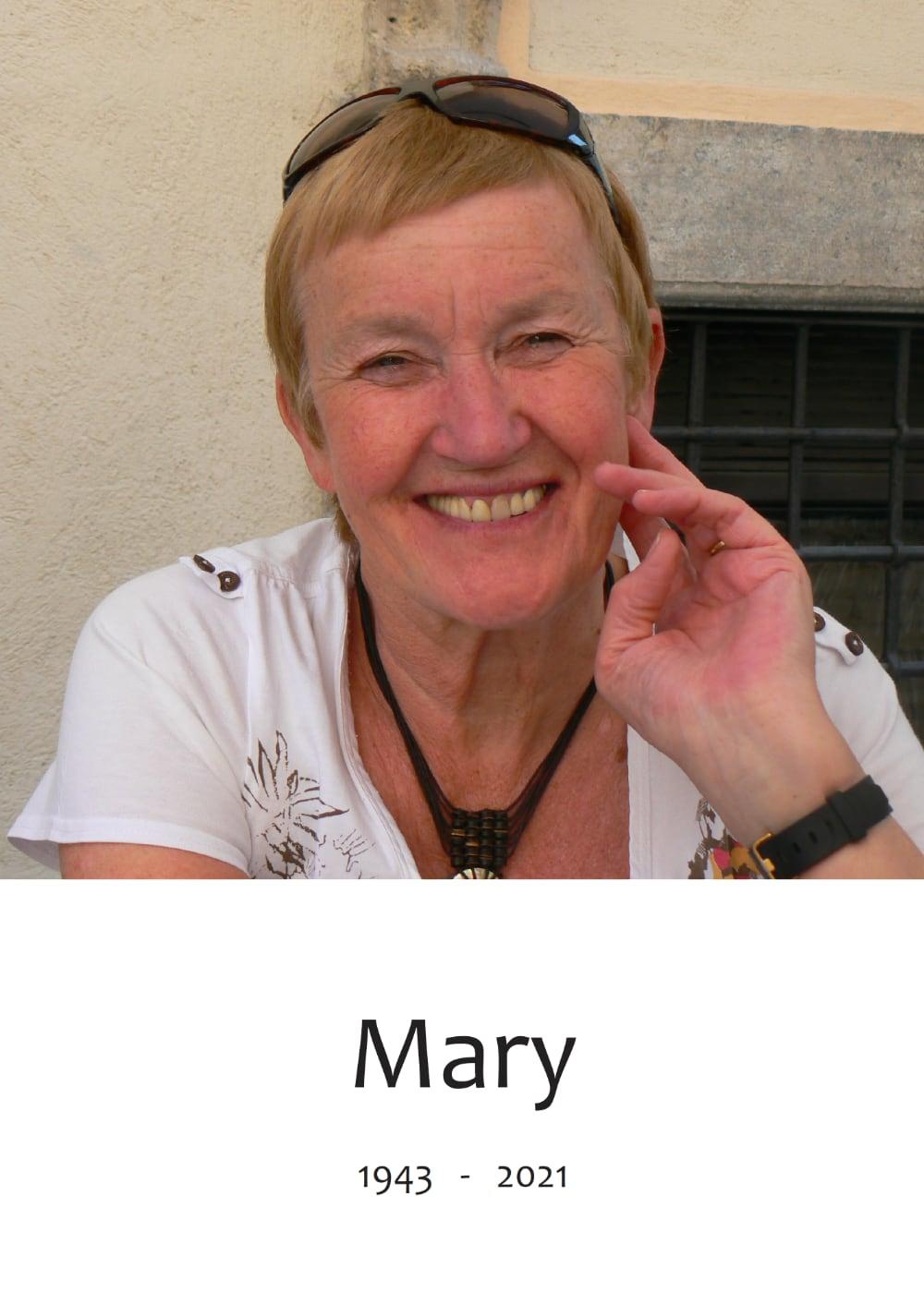 Rouwkaart voorkant Mary Klijnsma - Slot