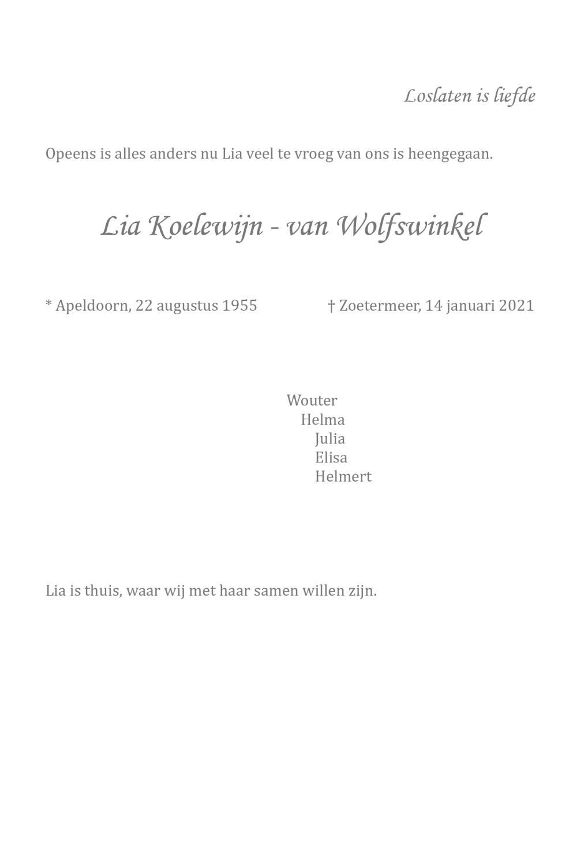 Rouwkaart Lia Koelewijn - van Wolfswinkel - midden rechts