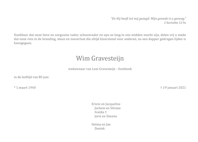 Rouwkaart Wim Gravesteijn