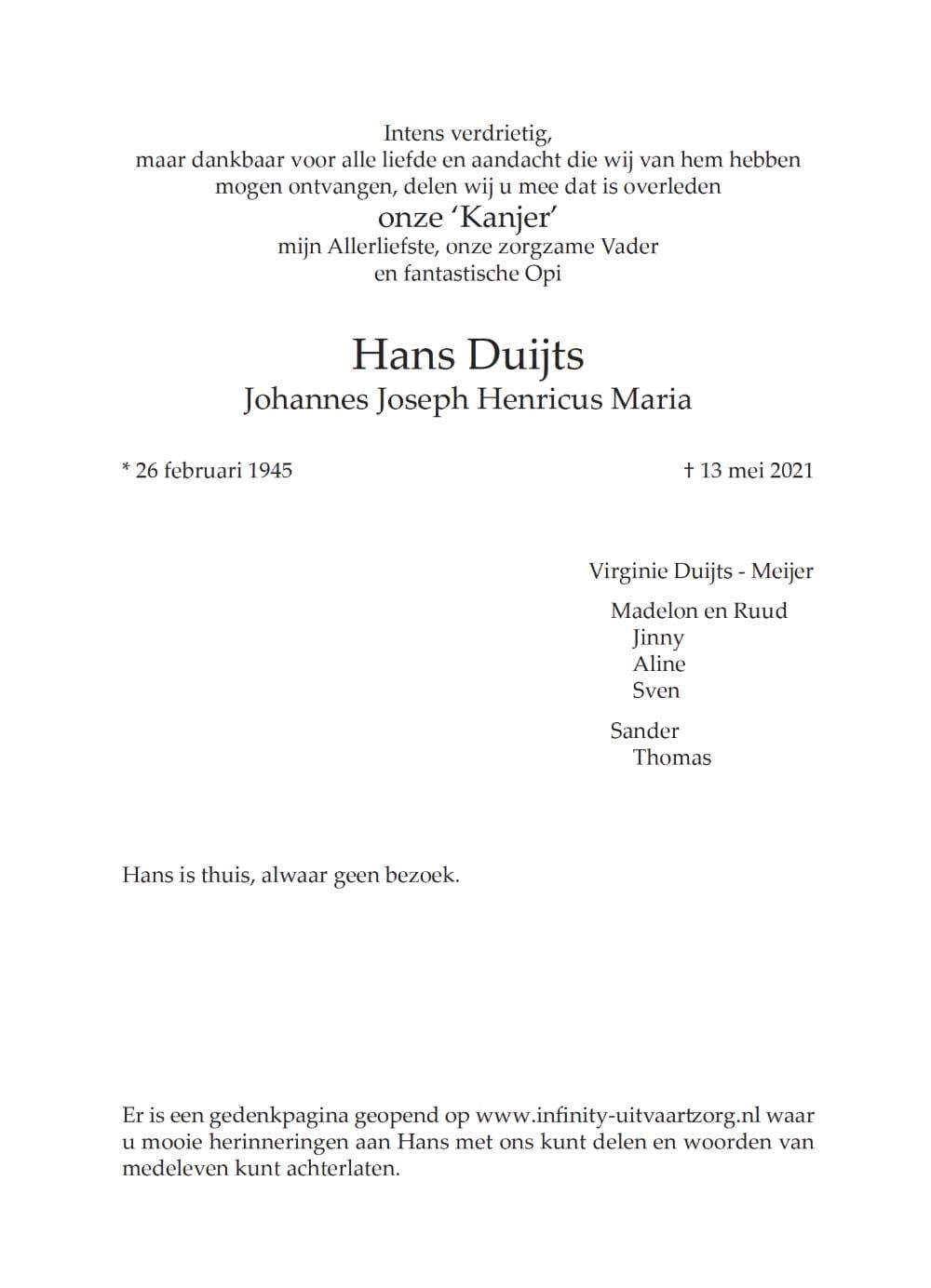 Rouwkaart midden rechts Hans Duijts
