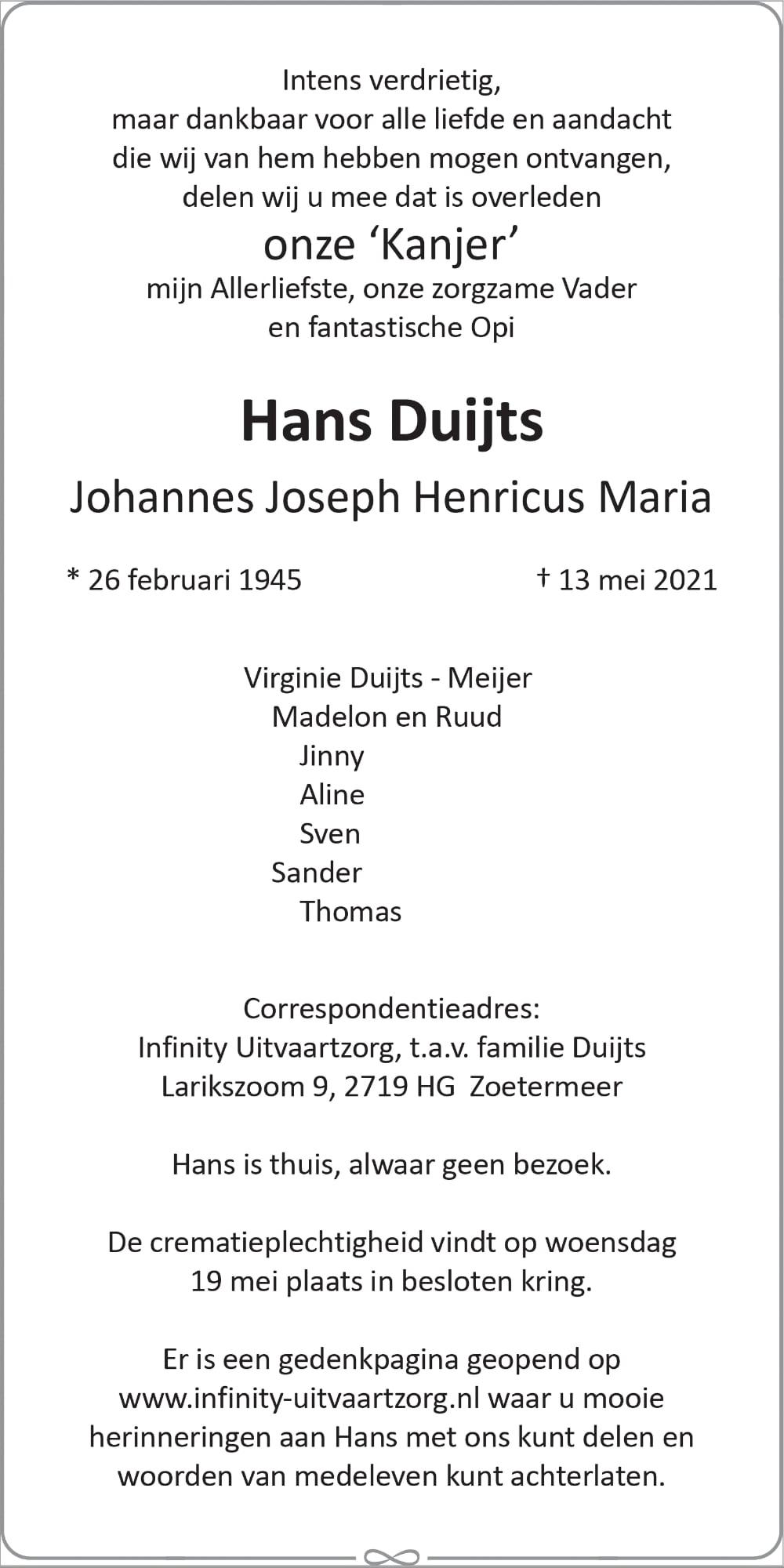 Hans Duijts - Advertentie