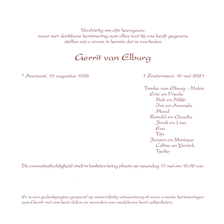 Rouwkaart midden rechts Gerrit van Elburg