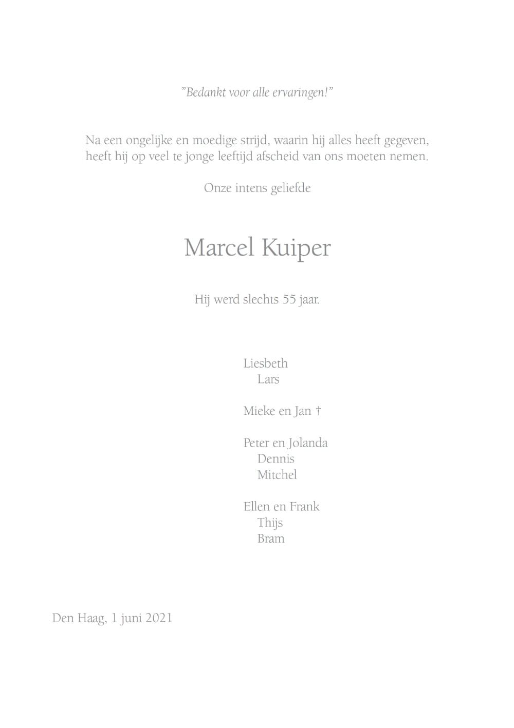Marcel Kuiper, rouwkaart binnenkant rechts