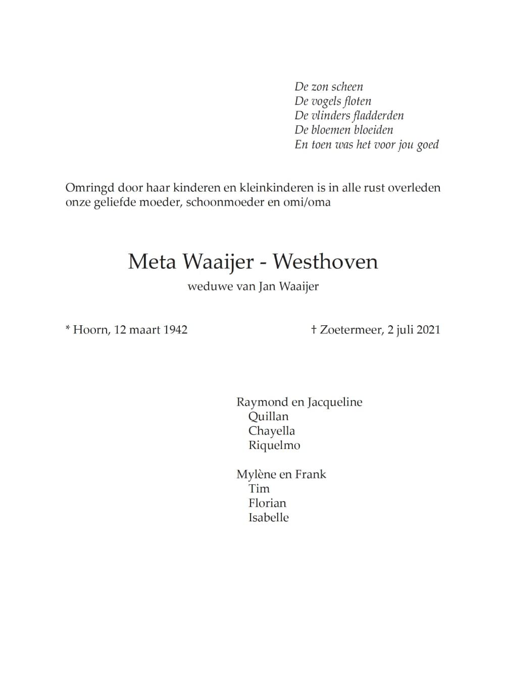 Rouwkaart midden rechts Meta Waaijer - Westhoven