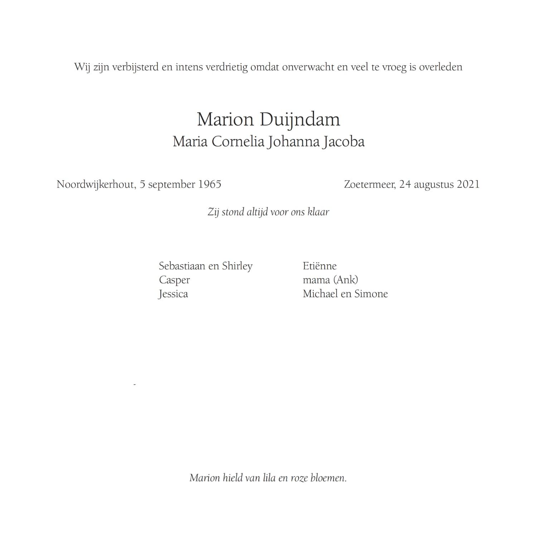 Rouwkaart midden rechts Marion Duijndam