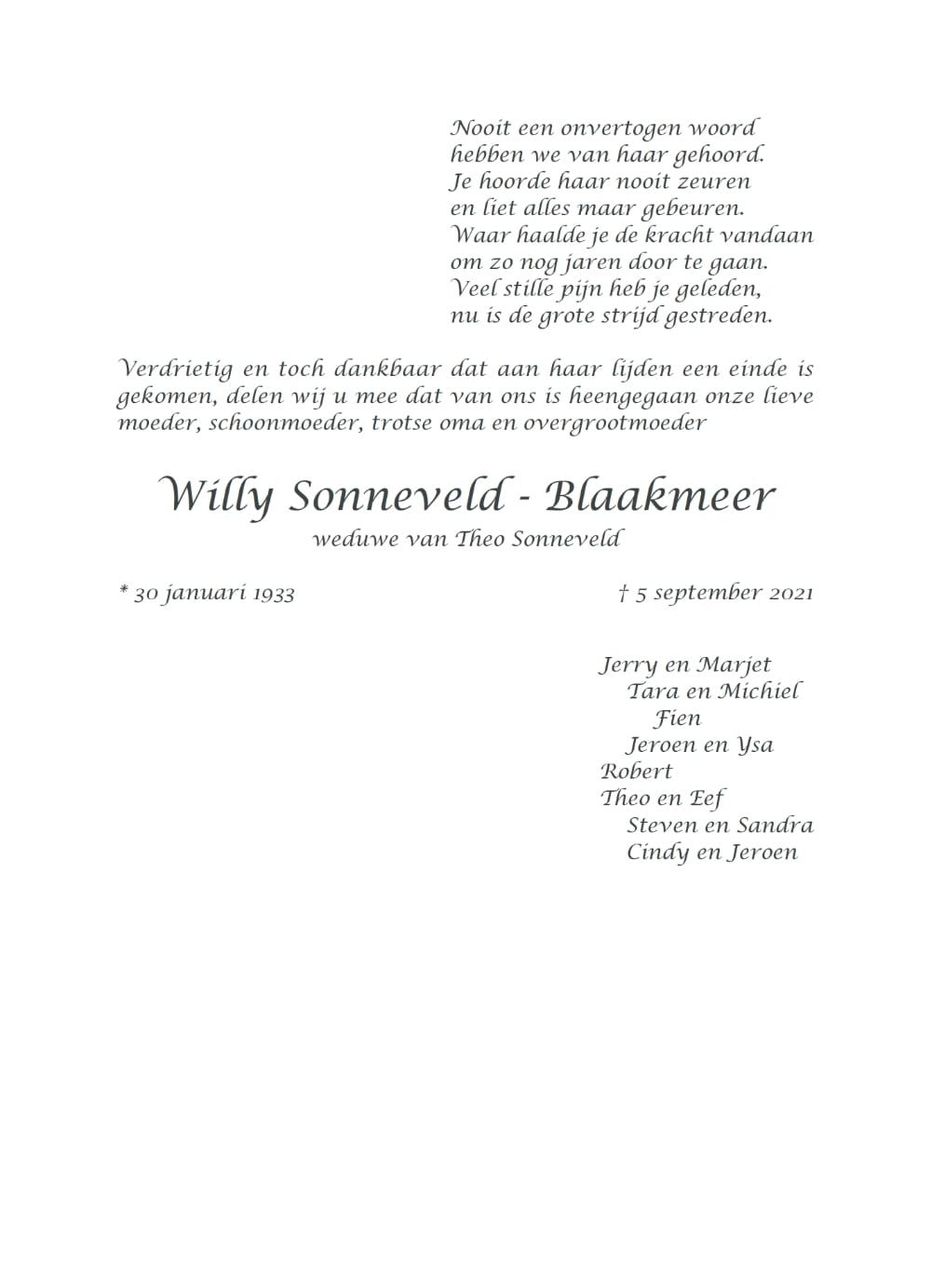 Rouwkaart midden Willy Sonneveld - Blaakmeer